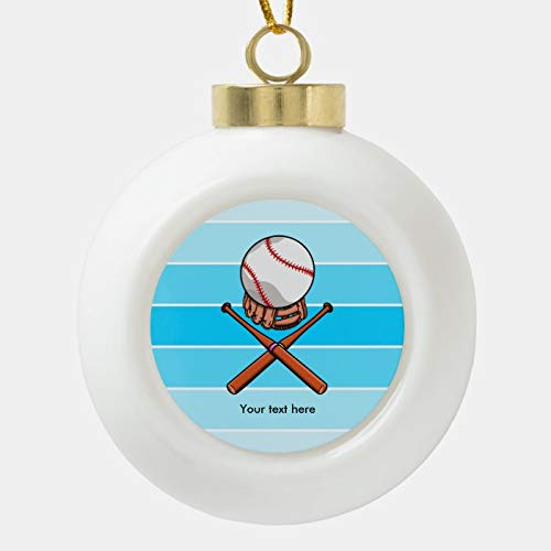 Dom576son Christmas Ball Ornaments, Softball And Cross Bats With Blue Stripes Ceramic Ball Christmas Ornament, Shatterproof Christmas Decorations Tree Balls for Holiday Wedding Party Decoration