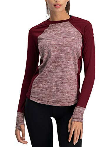 Long Sleeve Compression Workout Tops for Women - Thermal Running Shirt, Dry Fit w/Thumbholes Merlot