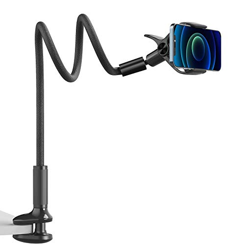 Gooseneck Phone Mount Holder - SAIJI Flexible Long Arm 360 Adjustable Ball Head for Bed, Lazy Bracket Clamp Desk Stand, Compatible with Cell Phone 12 11 Pro Max XR 8 Plus, Overall Length 37.4in(Black)
