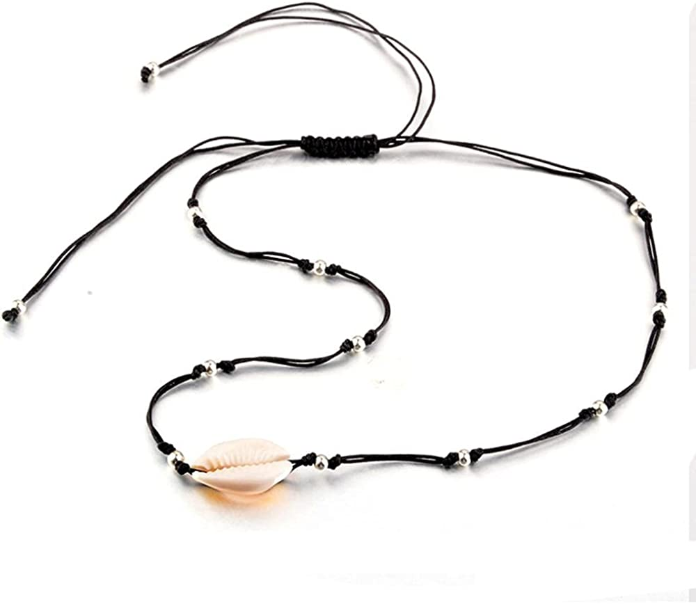 Fashion Black Rope Chain Natural Seashell Choker Necklace Collar Shell Choker Necklaces for Summer Beach Gift