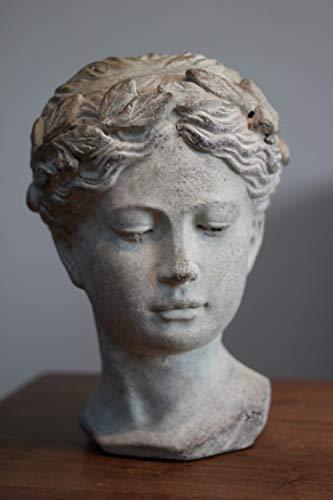 Exner Frauenbüste Valo, kl. Ausführ,Büste aus Cement, H 23 cm, schwere Damenbüste