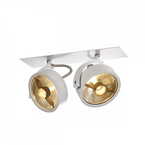 SLV Einbau-Strahler KALU 2, dreh- und schwenkbar   Dimmbare Deckenleuchten, Beleuchtung innen   LED Spots, Fluter, Deckenstrahler, Decken-Lampen, Einbau-Leuchten   2-flammig, GU10 QPAR111, EEK E-A++