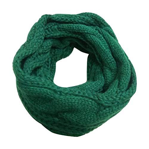 ネッカチーフ、ファッション冬は暖かいスカーフレディースソリッド編み編みウールリングスカーフを保つ