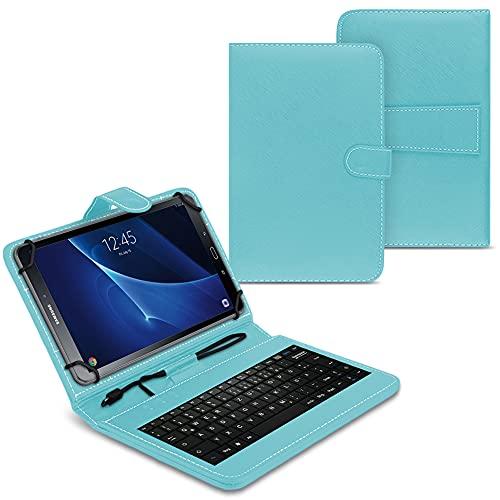 NAUC Funda para tablet compatible con Samsung Galaxy Tab A6 10.1 2016 T580 T585 con teclado USB, funda protectora de color turquesa