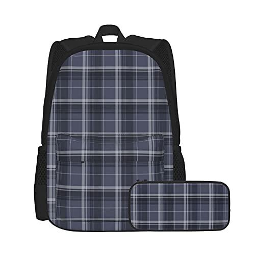 Set zaino casual e astuccio per computer portatile e astuccio combinato, zaino da lavoro e studio e borsa cosmetica combinata, motivo scozzese blu