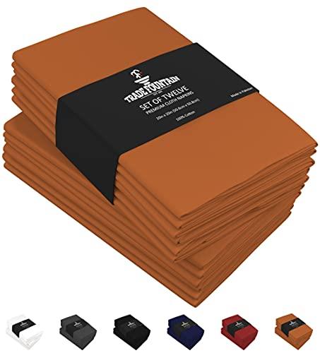 Trade Fountain - Set di 12 tovaglioli in tessuto di puro cotone, 50 x 50 cm, riutilizzabili, grande dimensione, da utilizzare a tavola
