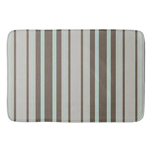 tian huan88 16x24 Inch Badmat, Mint groen en bruin Streep Patroon Badkamer Mat, Machine-Wasbare Vloermatten voor Badkamer