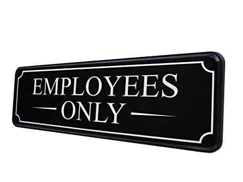 Employees Only Sign for Office Door Wall Home and Business - Black White Large Sticker - self-Adhesive 9×3 in - Easy Installation Without Any Tools - Quality Guaranteed by MolnijaPro