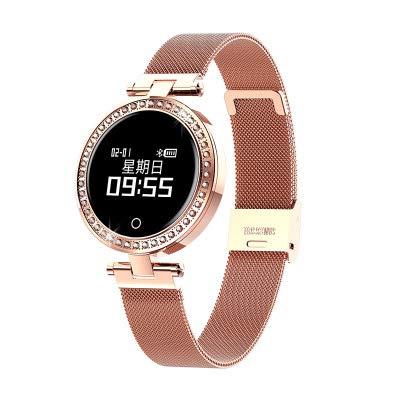 SLMY Voor Vrouwelijke mode slimme armband hartslag bloeddruk gezonde slaapdetectie waterdichte stappenteller sport horloge lange standby, size, Goud