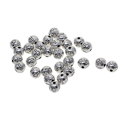 yotijar 30 piezas de plata tibetana artesanal resultados espaciadores encanto aleación joyas fabricación perlas cruzar
