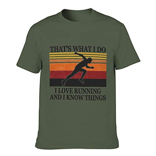 Camiseta de algodón para hombre Love Running Know Things – Sport Hobby verano casual verde militar M