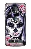 Sugar Skull Steam Punk Girl Gothic Etui Coque Housse pour Motorola Moto Z3, Z3 Play