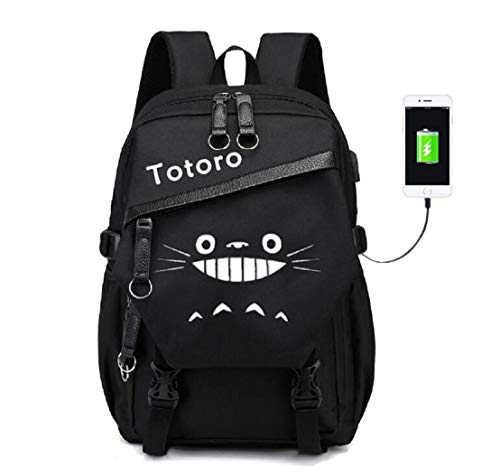 YOYOSHome Luminous My Neighbor Totoro Anime Cosplay Daypack Bookbag Laptop Tasche Rucksack Schultasche mit USB-Ladeanschluss