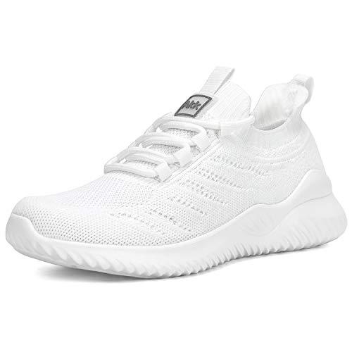 Akk Women's Walking Sock Shoes Lightweight Mesh Slip-on- Breathable Yoga Sneakers White Size 9.5