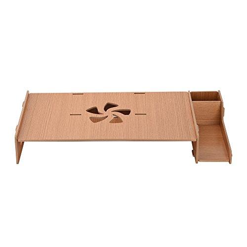 Ciglow - Soporte de bambú para Monitor con Organizador de Almacenamiento para portátil, teléfono móvil, Alta Densidad, Tablero HDF