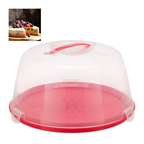 Relaxdays Kuchenbox rund, Tragegriff, Deckel, Kuchen & Torten, Muffins Transportbox, HxD: 18,5 x 35 cm, rot/transparent