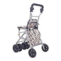 LYP Andador Rollator Andador Plegable Walker con Acolchado Asiento y Ruedas, Asas ergonómicas, Bolsa de Transporte, for el Adulto, Tercera, Ancianos y Personas discapacitadas