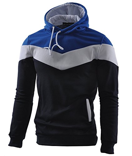 Mooncolour Mens Novelty Color Block Hoodies Cozy Sport Autumn Outwear  Dark Blue  US Medium Dark Blue US Medium