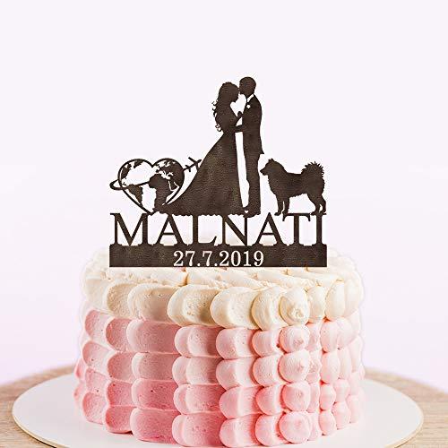 Custom Travel Themed Custom Wedding Cake Topper, Wereldkaart Cake Topper, Vliegtuig Gepersonaliseerde Cake Topper kaart Silhouette met een hond of kat
