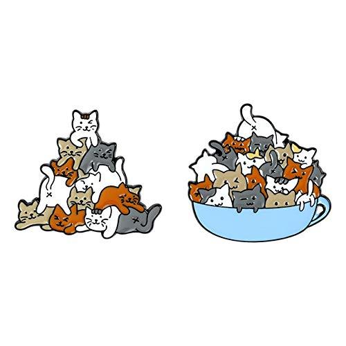 Una taza de gatos esmalte Pin gato taza de café taza broches bolsa solapa pin de dibujos animados animal gatito insignia joyería regalo conjunto