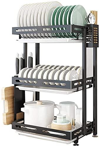 Svart vägg 3 lager diskmaskin, 60,5 * 26 * 45 cm avloppsställ i rostfritt stål, vikbart förvaringsställ med ätpinnarbur/knivhållare