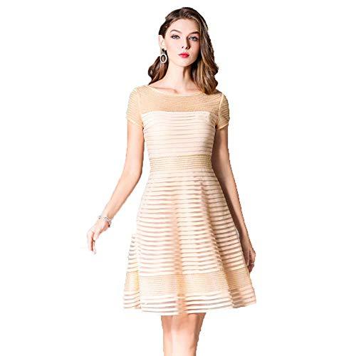 YYH Frauen Eleganter A-Linie Kleid - Feste Farbige Formale Abend-Kleid Plus Größe Partei-Abschlussball-Cocktailkleid,Apricot,XL