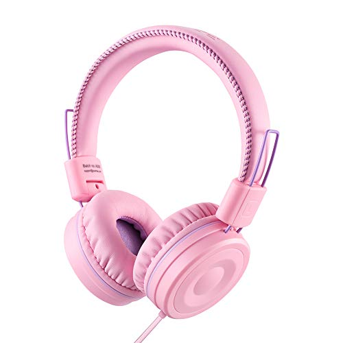 POWMEE M1 Kids Headphones Wired Headphone for Kids,Foldable Adjustable Stereo Tangle-Free,3.5MM Jack Wire Cord On-Ear Headphone for Children (Pink)