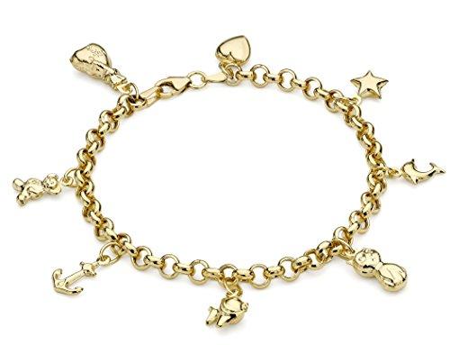 Carissima Gold Damen 8-Charm Belcher Armband 9k(375) Gelbgold 5mm 19cm/7.5zoll