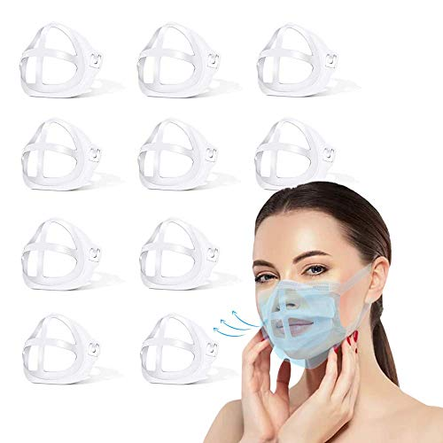 Face Mask Inner Support Frame - Reusable Silicone Bracket Insert - Reusable Face Mask Accessories Easier to Breathe - Pack of 10 Pieces