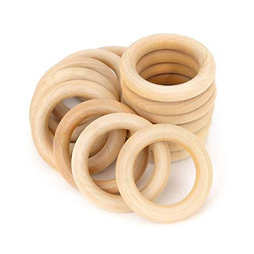 RUBY - 20 Aros de madera natural para manualidades, aros de madera para artesanías (Ø 55 mm)