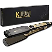 KIPOZI Professional Hair Straighteners UK Wide Plates with Digital LCD Display Dual Voltage Salon Fast Hair Styler,Black