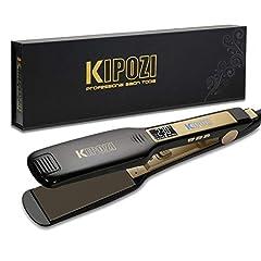 Idea Regalo - KIPOZI Piastra Capelli Professionale Larga Digitale con Display LCD Doppia Tensione Piastra Per Capelli,Piastra Keratina (Nero)