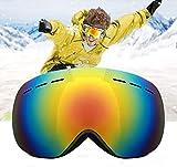Hidewalker Gafas de Esquí Máscara Esqui Snowboard Nieve Espejo Anti Niebla Protección UV Gafas de Ventisca para Hombres Mujeres y jóvenes (Negro - Rojo Lente)