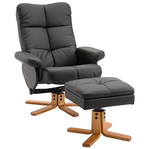 HOMCOM Relaxsessel Fernsehsessel 360° drehbarer Sessel mit Hocker Liegefunktion Holzgestell Schwarz 80 x 86 x 99cm