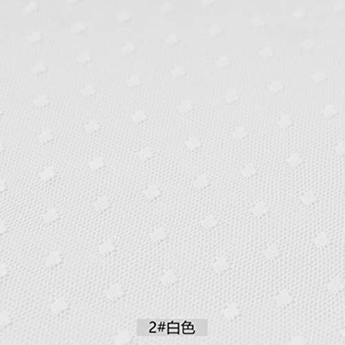 LLine Modieuze mesh kant stof jacquard mesh stof bruiloft stof voor naaien jurk en meisje tule rok 45x150cm, 2 wit