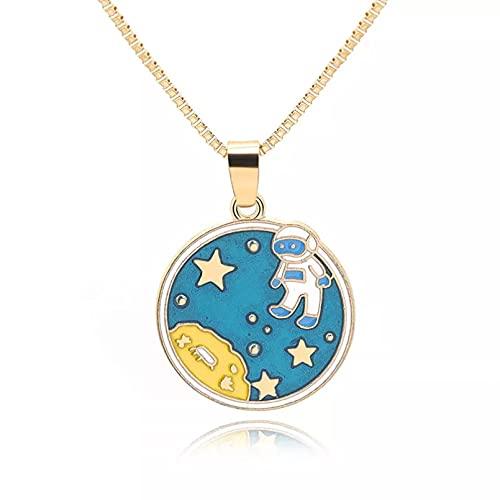 WDBUN Collar Colgante Joyas Colorido Dibujos Animados océano Estrella de mar Media Luna Media Luna Astronauta Redondo Universo Espacial Sol Cielo Collar joyería Navidad Regalo de cumpleaños