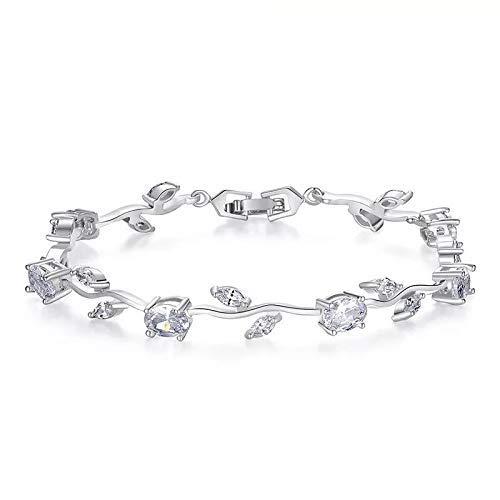 SataanReaper presenta brazalete de cristal chapado en plata para mujeres y niñas (plata) #SR-2381