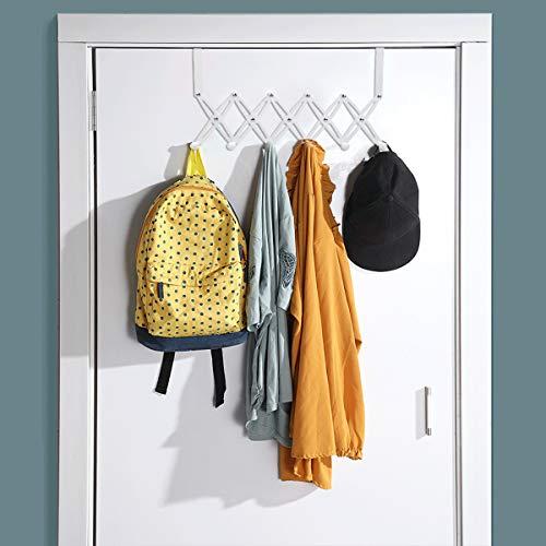 SubClap Over The Door Hook Door Hanger with 6 Hooks Retractable Metal Organizer Rack Hanging Storage Rack for Towels Coat Clothes Bags Scarfs Hat Belt Bathrobe Key in Bathroom Living Room