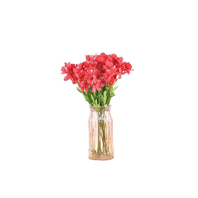 silk flower arrangements cn-knight artificial azalea flower 10pcs 23'' long stem faux rhododendron with 4 blossoms for home decor centerpiece housewarming wedding diy bridal bouquet(red)