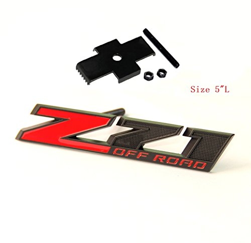 Yoaoo 1x OEM 5 Inches Grille Matte Z71 Off Road Emblems Badge 3D for Silverado 1500 2500Hd Sierra Suburban Colorado Black Red