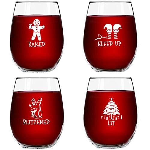 Drunk Christmas Stemless Wine Glasses