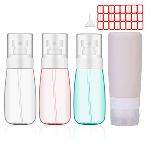 2oz Spray Bottle, Mister Spray Bottle, KoHuiJoo Empty Clear Refillable BPA Free Small Plastic Atomizer Spray Bottle for Hand Sanitizer, Essential Oils, Perfumes and Liquids (4 pack)