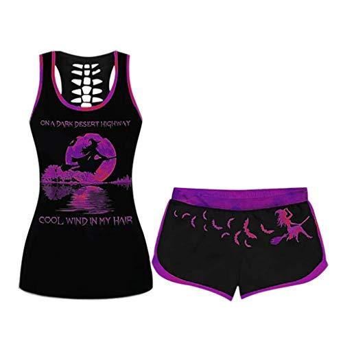 Yoga Outfit 2 Stück Set mit Sportanzug,Frauen T-Shirt und Sexy Damen Sport Tank Top Unterhemden ärmellose Weste,Sportswear Trainingsanzüge ärmellose Weste(Violett,XXXL)