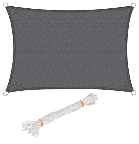 WOLTU Sonnensegel Rechteck 4x6m Grau wasserabweisend Sonnenschutz Polyester Windschutz mit UV Schutz für Garten Terrasse Camping