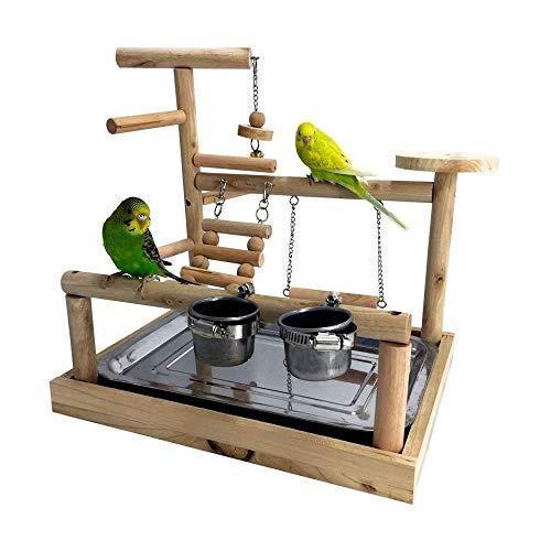 Mrli Pet Bird Playground Parrot Playstand Bird Playpen Wood Perch Bird Gym with Ladder Toys Feeder for Parakeet Cockatiel Budgie