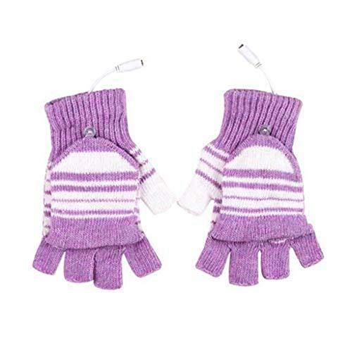 Glumes Men Women Kids Electric Heated Fingerless Gloves USB Heat Thermal Mitten, Sports Indoor Winter Novelty Warm Heating Gloves, Working Pinting Typing Heater Warmer -Best Xmas Gift (Pink)
