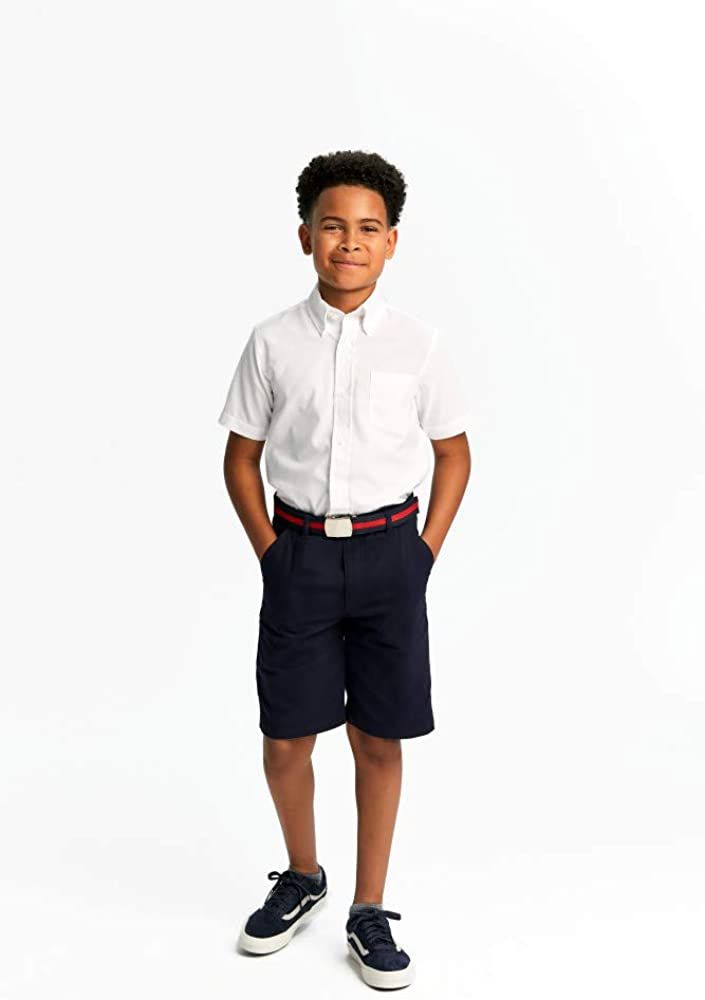 French Toast School Uniform Boys Short Sleeve Oxford Shirt, White, Husky