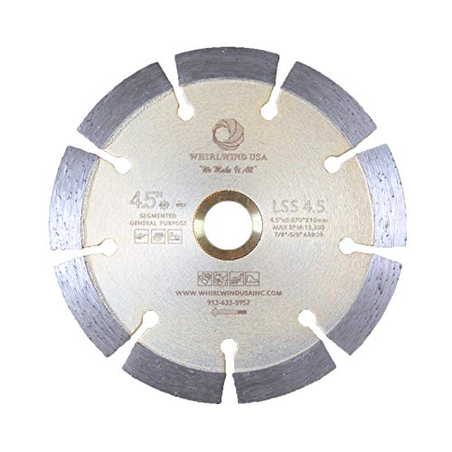 4-1/2 inch Segmented Diamond Saw Blade, Dry or Wet Cutting General Purpose for Concrete Stone Brick Masonry, Arbor, etc. (4-1/2')