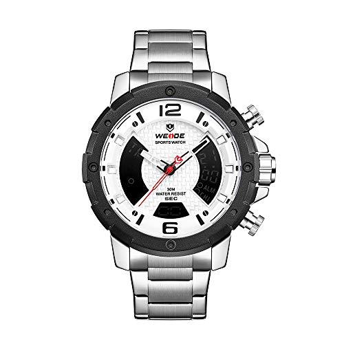 Relógios para homem Zwbfu WH8504 Dual Display Relógio de Quartzo Digital com Dois Movimentos para Homens 3ATM À Prova Esportes de Negócios Relógio Luminoso Relógio com Fuso Horário Duplo Semana