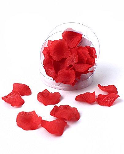 Generique - 50 Petits Pétales de Rose en Tissu Rouge 2 cm